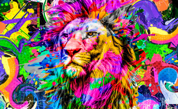 close up of colorful painted lion face