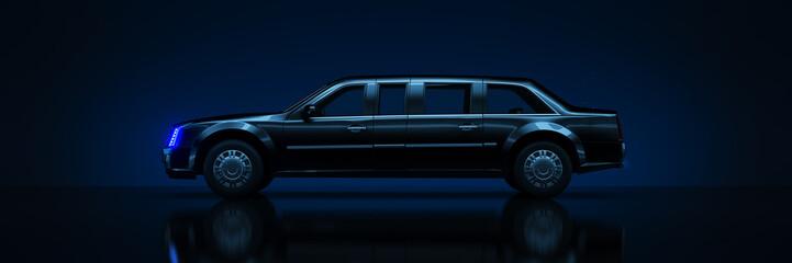 Fototapete - Big black limousine, studio setup on a dark background. 3d rendering