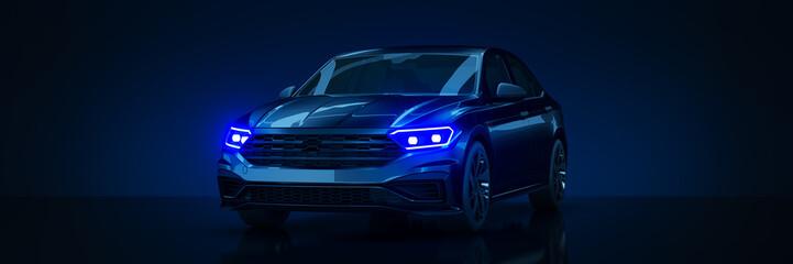Fototapete - Sports car, studio setup on a dark background. 3d rendering