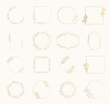 Set of elegant golden frames with botanical design elements. Fancy ornate borders for wedding hand drawn design. Vector isolated illustration.