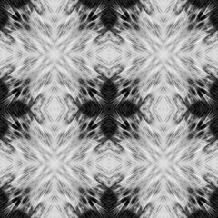 Computer graphics, pattern - kaleidoscope, seamless surreal magic texture in shades of gray. The tile is square.