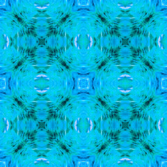 Computer graphics, pattern - kaleidoscope, seamless surreal magical texture in shades of blue. The tile is square.