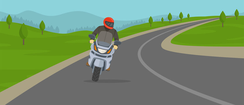 Biker riding motorcycle on the highway. Cornering or turning bike. Flat vector illustration template.
