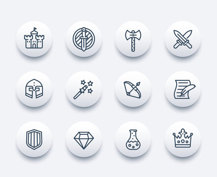 Game line icons set, swords, magic wand, bow, castle, fortress, helmet, shield, armor, potion