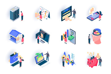 Banking service isometric icons set. Digital wallet, financial analytics and balance, money transaction flat vector illustration. Credit card payment 3d isometry pictograms with people characters.