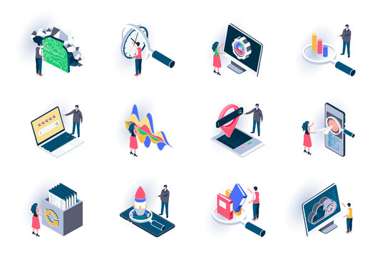 SEO optimization isometric icons set. Digital marketing, research and strategy planning, traffic analysis flat vector illustration. SEO technology 3d isometry pictograms with people characters.