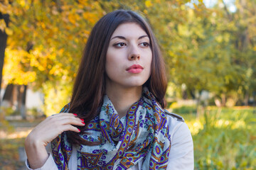 Portrait of a beautiful young woman on the background of autumn leaves.