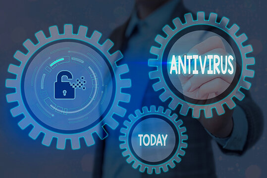 Writing note showing Antivirus. Business concept for suitable for the detection and removal of computer viruses Graphics padlock for web data information security application system