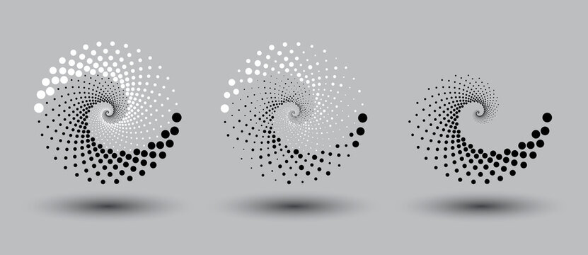 Two galaxy burst. Abstract dotted vector background. Halftone effect. Spiral dotted background or icon. Yin and yang style.
