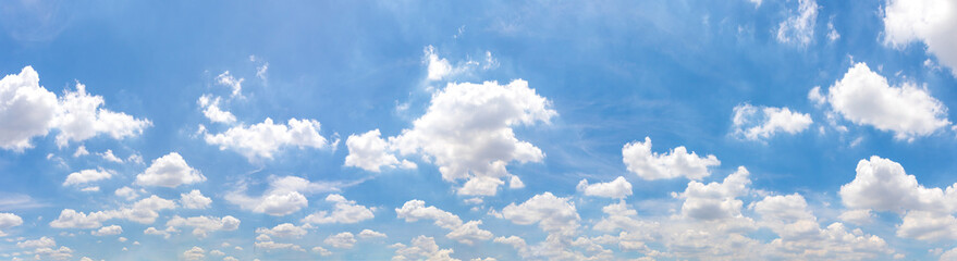 Panorama or panoramic photo of blue sky and white clouds or cloudscape. for breathing concepts background. Fototapete