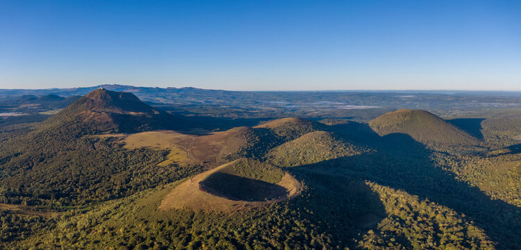 Aerial panorama of Puy Pariou and Puy de Dome volcanoes in France