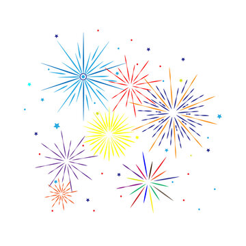 Fireworks vector illustration. Festive background