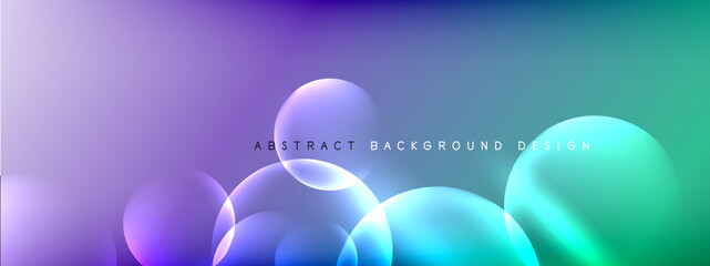 Tuinposter Bol Vector abstract background liquid bubble circles on fluid gradient with shadows and light effects. Shiny design templates for text