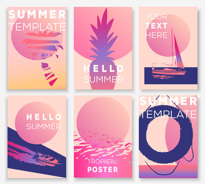 Hello summer card template. Vector bright summertime poster. Tropical paradise illustration. Beach party invitation. Bold neon colors poster.