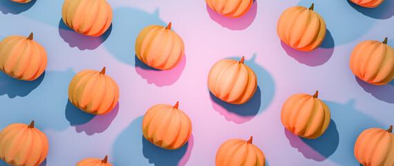 Halloween pumpkins flat lay composition