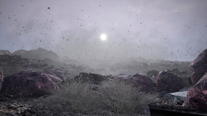 Tuinposter Bleke violet Apocalyptic weather. A hurricane wind circles sand and leaves. The concept of extreme weather, hurricane and storm. 3D Rendering