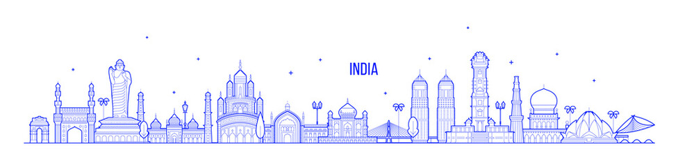 Fototapete - India skyline country buildings vector linear art