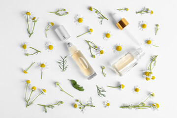 Flat lay composition with chamomile essential oil on white background