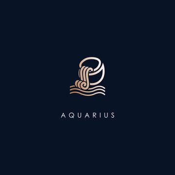 Aquarius Zodiac Logo Design With Luxury Gold Colour. Aquarius Zodiac Logo Template. Modern Design. Flat Logo. Vector Illustration