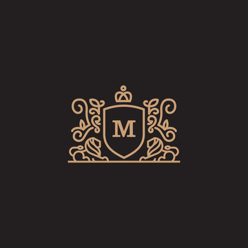 Coat Of Arms Lion Majestic Logo With Luxury. Icon.  Vector Illustration