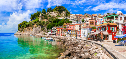 Coloful beautiful town Parga - perfect getaway in Ionian coast of Greece, popular tourist attraction and summer holidays in Epirus