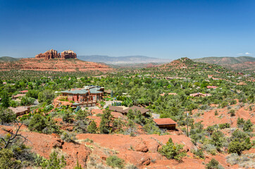 Beautiful view of the town of Sedona and red rock desert in Arizona, USA