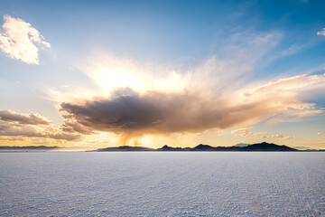 Tuinposter Bleke violet Bonneville Salt Flats wide angle view of storm clouds at sunset near Salt Lake City, Utah and mountain view with nobody open landscape
