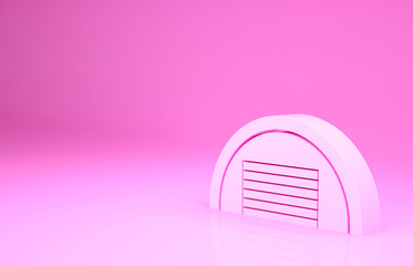 Wall Murals Candy pink Pink Garage icon isolated on pink background. Minimalism concept. 3d illustration 3D render.