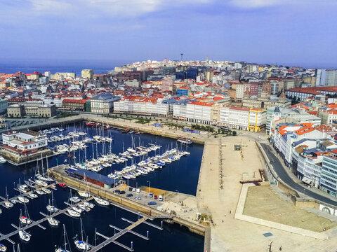 La Coruna. Aerial view in harbor Area . Galicia,Spain. Drone Photo