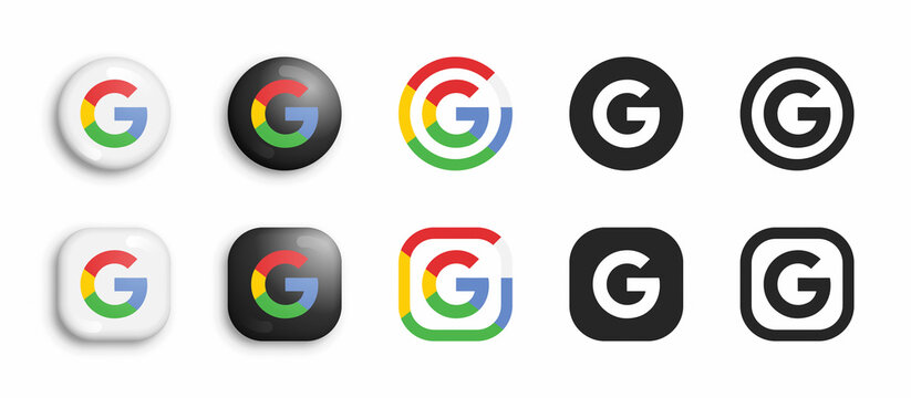 Google Vector Icons Set In Modern 3D And Black Flat Style Isolated On White Background. Popular Web Search Engine Logo In Different Styles