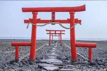 The Floating Torii Gate of Ouo Shrine in Ariake Sea, Tara town, Saga Prefecture, Japan.