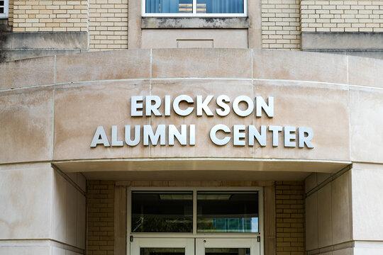 Charleston, USA - October 17, 2019: University campus in West Virginia capital city with closeup exterior sign of Erickson Alumni center entrance