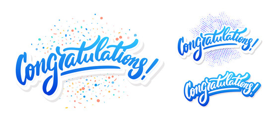 Congratulations. Greeting banners set. Vector lettering.