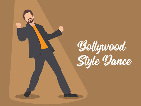 An actor performing bollywood style dance moves. Bollywood style dancing. Dancer on the stage. Indian movies and Indian cinema.
