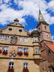 Wolframs-Eschenbach Liebfrauenmünster Kirche Deutschordenschloss Rathaus Fachwerkhaus Franken Mittelfranken Bayern Deutschland Kirchturm