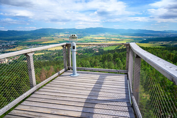 View of countryside of Bojnice from wooden sky deck of Sightseeing tower Cajka (Slovakia)
