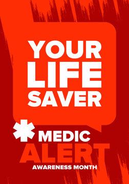 Medic Alert Awareness Month in August. Medical bracelets. First aid, emergency. Medical design. Celebration in United States. Poster, greeting card, banner and background. Vector illustration