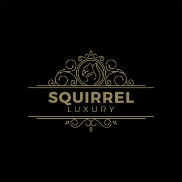illustration logo vector graphics of squirrel in a luxury line style, good for furniture logos or animal logos
