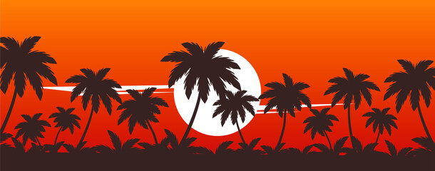 Photo sur Plexiglas Marron chocolat palm trees on sunset vector tropical beach illustration