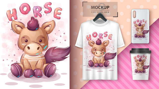Cute teddy horse poster and merchandising.