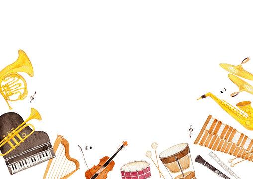 楽器 オーケストラ 背景 フレーム 水彩 イラスト