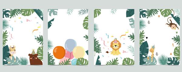 Green collection of safari background set with monkey,bear,giraffe.Editable vector illustration for birthday invitation,postcard and sticker