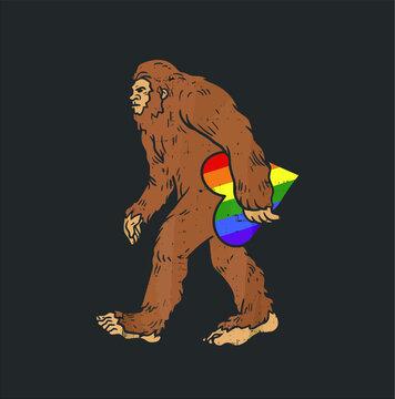 Bigfoot Rainbow Heart Funny Sasquatch Gay Lgbt Pride Gift new design vector illustrator