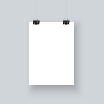 White paper poster A4 mockup hanging with paper clip realistic vector on gray wall background