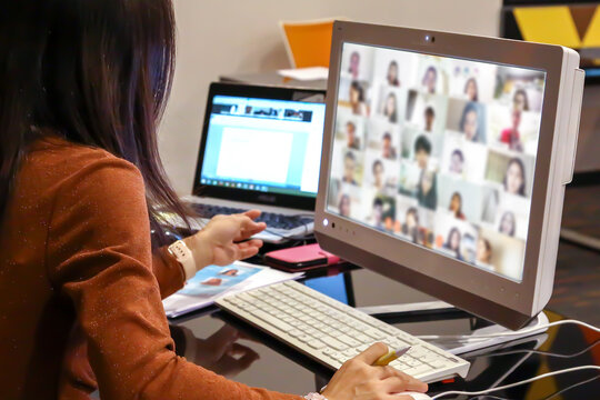 Female teacher are using computer laptop for online teaching students or online elearning ormeetings with webex or zoom program application.