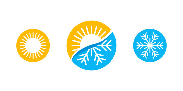Hot and cold - flat vector icons with symbols of sun and snowflake - climate control, difference, climat change, thermometer - temperature index  visualization