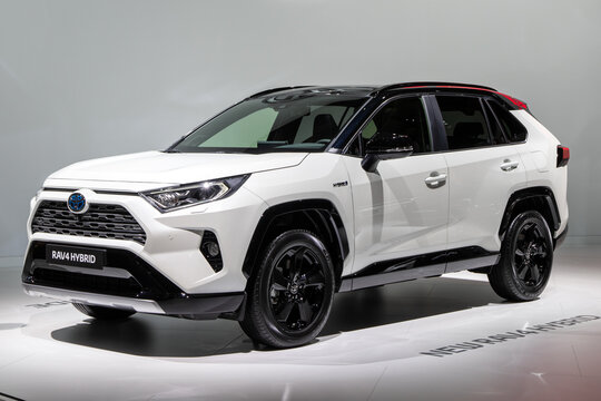PARIS - OCT 3, 2018: Toyota RAV4 Hybrid car presented at the Paris Motor Show.