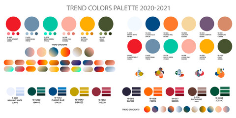 Fashion color trend Autumn Winter 2020 2021. Color palette forecast of the future color trend. Stock vector palette of shades