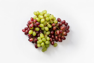 white and red grapes on white background