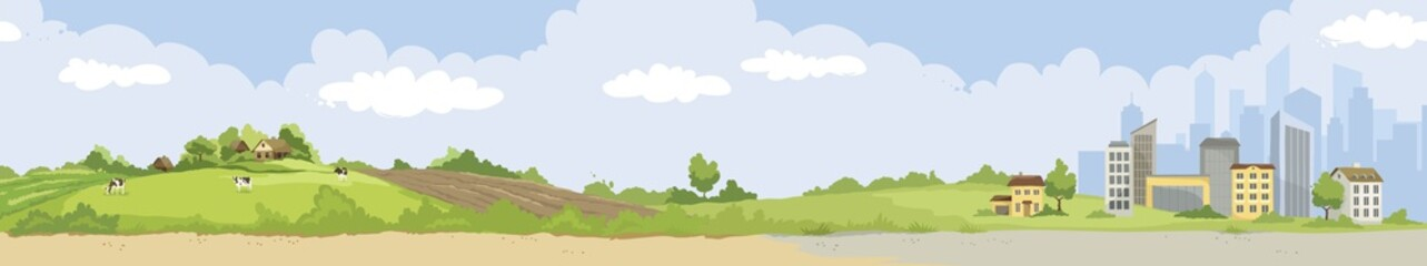 From village to city. Vector illustration, urban and rural landscapes.
